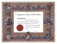 Personalized Odd Fellows Degree Certificate
